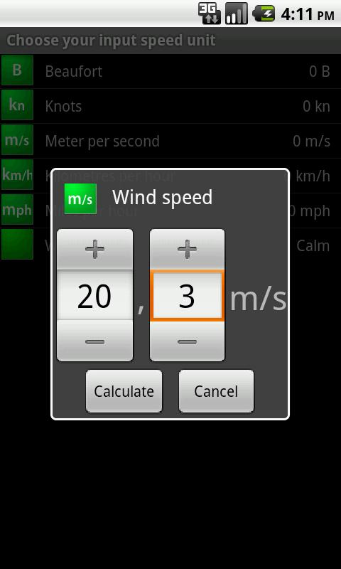 Marine Wind Calculator - screenshot