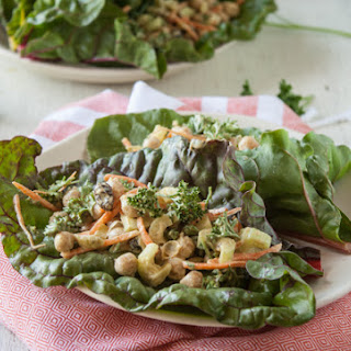 Curried Chickpea Salad Swiss Chard Wraps
