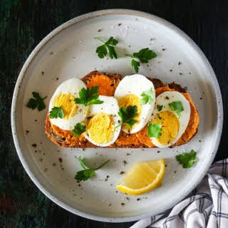Hard-Boiled Egg Toast with Harissa Butter.