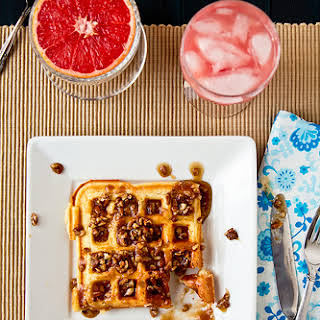 Waffles with Southern Comfort Praline Sauce.