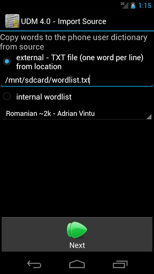 User Dictionary Manager (UDM)- screenshot