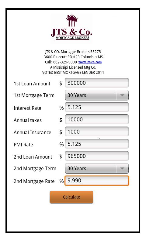 JTS & Co. Mortgage Calculator - screenshot