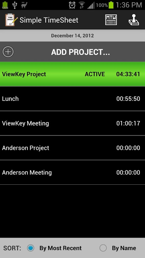 Simple TimeSheet - screenshot