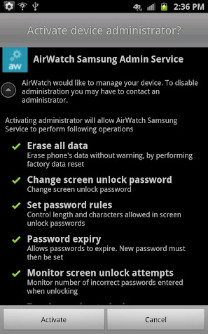 AirWatch Samsung Service Screenshot