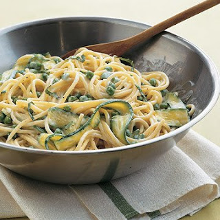 Spaghetti with Peas and Zucchini Ribbons.