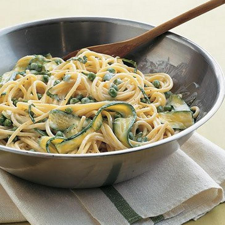 Spaghetti with Peas and Zucchini Ribbons Recipe