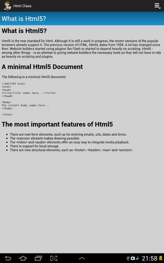Html Class - screenshot