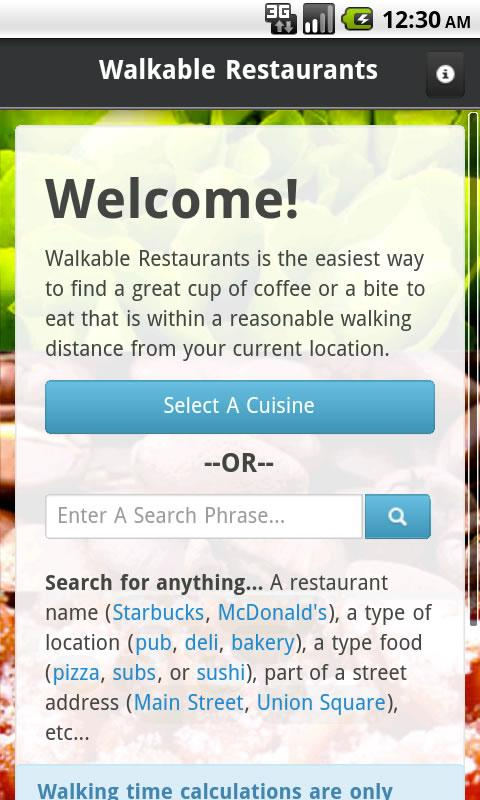 Walkable Restaurants - screenshot