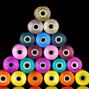Stacked by Fahad Iqbal - Artistic Objects Still Life ( isolated, reflection, color, thread, stack,  )