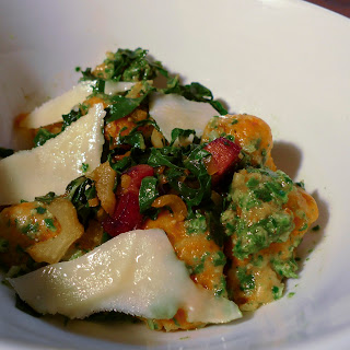 Carrot Gnocchi with Chard two ways