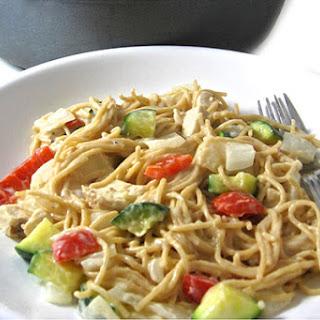 Easy, Skillet Chicken Tetrazzini Made Skinny.