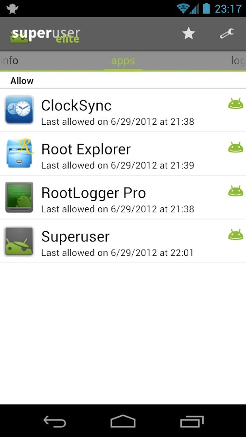 Superuser: captura de pantalla