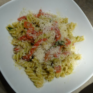 Pasta with Roasted Peppers and Brocoli Pesto.