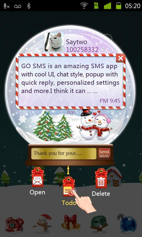 GO SMS Pro Snowlove Popup them - screenshot
