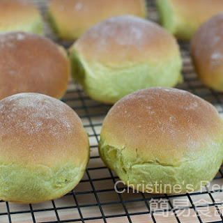 Japanese Green Tea Bread with Red Bean Fillings.