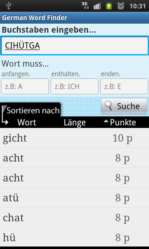 German Word Finder - screenshot