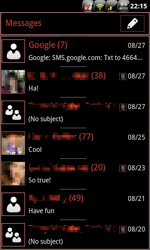RBW GO SMS Pro Theme (free)- screenshot