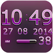 Digi Clock Widget Pink Star