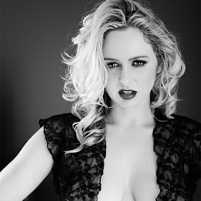 Intensity by Kelly Kooper - Black & White Portraits & People ( blonde, lingerie, black and white, intensity, glam )