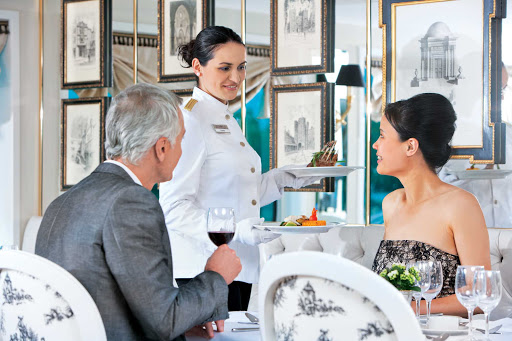 Uniworld-River-Baroness-restaurant - Guests will delight in the regional cuisine served aboard the River Baroness during a cultural discovery of France.