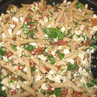 Mostaccioli with Spinach and Feta.