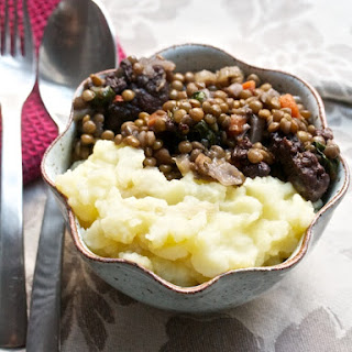 Lentils and Sausage, Braised in Red Wine.