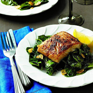 Porcini-crusted Black Cod With Garlic Spinach.