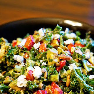 Kale Salad with Avocado Lemon Vinaigrette.