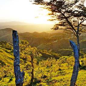 sunset by Charles Saunders - Novices Only Landscapes ( mountains, tree, sunset, dominican republic )