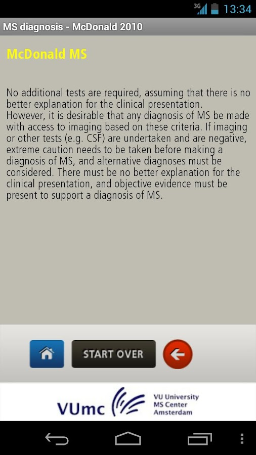 MS diagnosis - screenshot