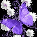 Purple Butterfly On Flowers logo