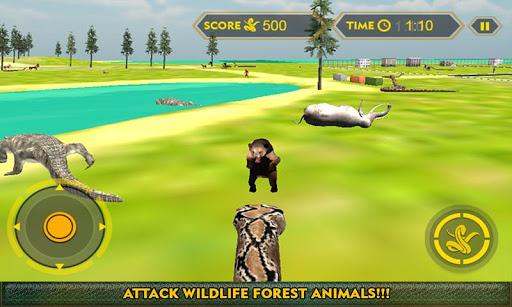 森林野生蛇的攻击