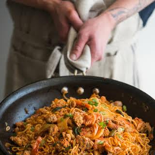 Pork and Kim Chi Noodle Stir Fry.