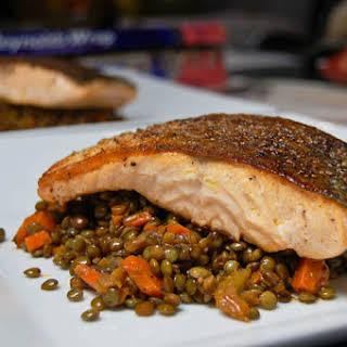 Pan Seared Salmon w/ French Green Lentils.