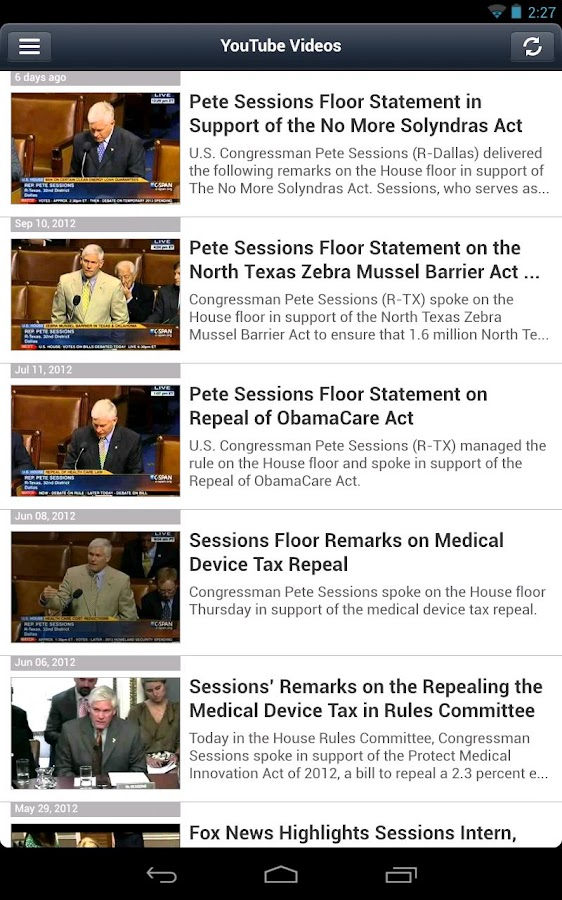 Congressman Pete Sessions - screenshot