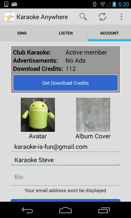 Karaoke Anywhere for Android - screenshot