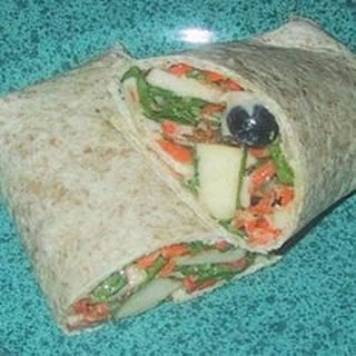 Fruit, Veggie, and Tuna Salad Wrap.