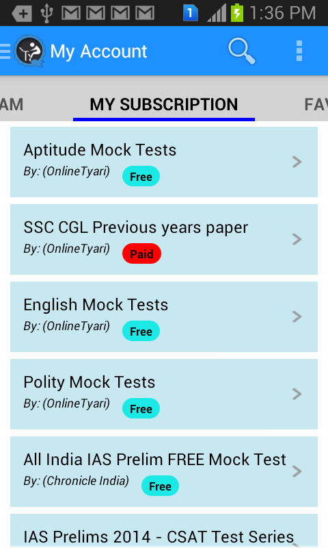 OnlineTyari GK Exam App - screenshot