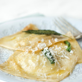 Artichoke and Mascarpone Ravioli with Brown Butter and Sage Sauce.