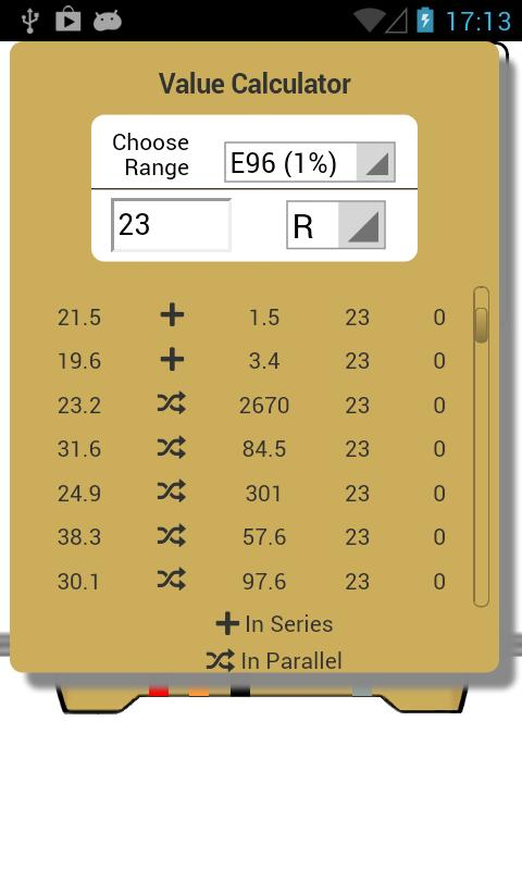 Resistor Calculator: captura de pantalla