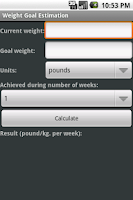 Screenshot of Weight Goal Estimation