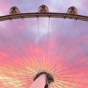 by Eric Yiskis - City,  Street & Park  Amusement Parks ( las vegas, high roller, sunset, landscape, observation wheel,  )