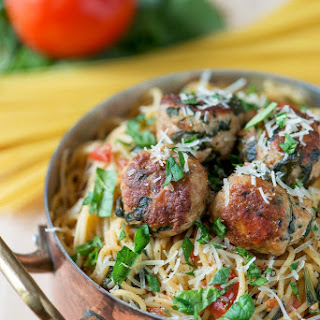One Pot Spinach & Turkey Meatball Pasta