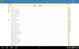 Screenshot of WP & UK Birding Checklist