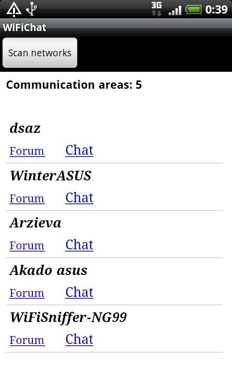 WiFi Chat - screenshot