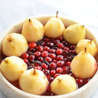 Cranberry Poached Pears with Goat Cheese.