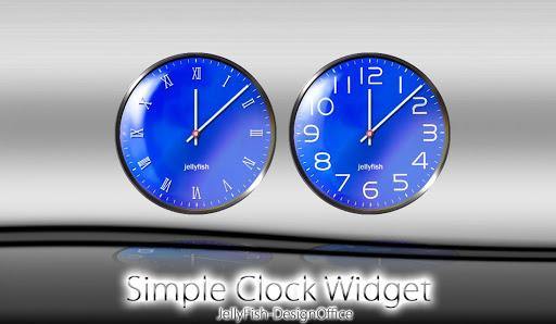 シンプルなアナログ時計ウィジェット【ブルー】