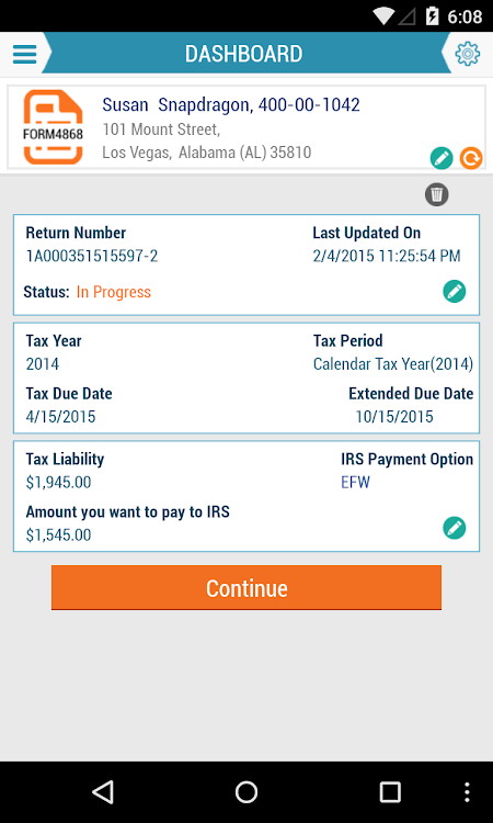 E-File Form 4868 – (Android Apps) — AppAgg