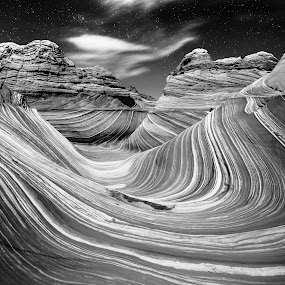 Crahing The Wave by Jeremy Jordan - Landscapes Caves & Formations ( twitter, instagram, the wave, nature, black and white, stars, nightscpae, facebook, arizona, google plus, travel, pinterest )