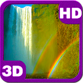 Bright Rainbow Waterfall